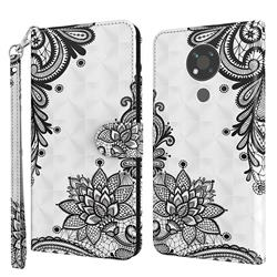 Black Lace Flower 3D Painted Leather Wallet Case for Nokia 3.4