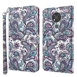 Swirl Flower 3D Painted Leather Wallet Case for Nokia 3.4