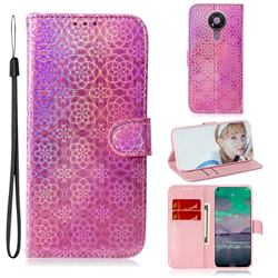 Laser Circle Shining Leather Wallet Phone Case for Nokia 3.4 - Pink