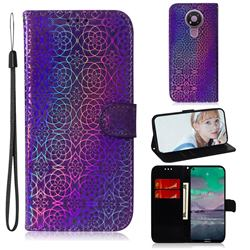 Laser Circle Shining Leather Wallet Phone Case for Nokia 3.4 - Purple
