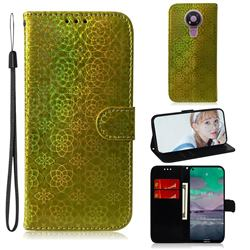 Laser Circle Shining Leather Wallet Phone Case for Nokia 3.4 - Golden