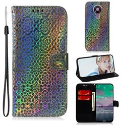 Laser Circle Shining Leather Wallet Phone Case for Nokia 3.4 - Silver