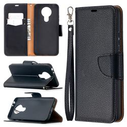 Classic Luxury Litchi Leather Phone Wallet Case for Nokia 3.4 - Black
