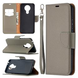 Classic Luxury Litchi Leather Phone Wallet Case for Nokia 3.4 - Gray