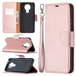 Classic Luxury Litchi Leather Phone Wallet Case for Nokia 3.4 - Golden