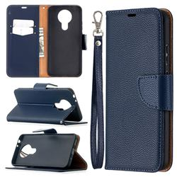 Classic Luxury Litchi Leather Phone Wallet Case for Nokia 3.4 - Blue