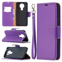 Classic Luxury Litchi Leather Phone Wallet Case for Nokia 3.4 - Purple