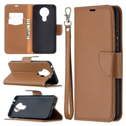 Classic Luxury Litchi Leather Phone Wallet Case for Nokia 3.4 - Brown