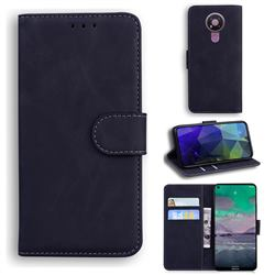 Retro Classic Skin Feel Leather Wallet Phone Case for Nokia 3.4 - Black
