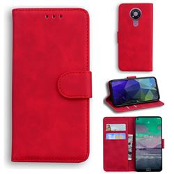 Retro Classic Skin Feel Leather Wallet Phone Case for Nokia 3.4 - Red