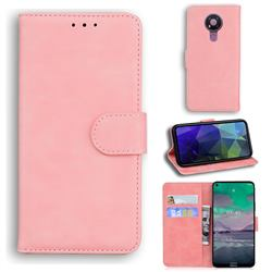 Retro Classic Skin Feel Leather Wallet Phone Case for Nokia 3.4 - Pink