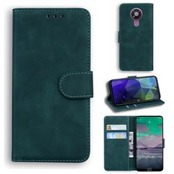 Retro Classic Skin Feel Leather Wallet Phone Case for Nokia 3.4 - Green