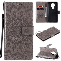 Embossing Sunflower Leather Wallet Case for Nokia 3.4 - Gray