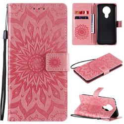 Embossing Sunflower Leather Wallet Case for Nokia 3.4 - Pink