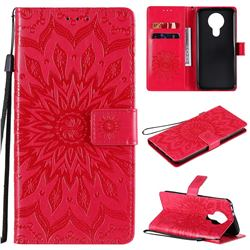 Embossing Sunflower Leather Wallet Case for Nokia 3.4 - Red