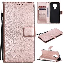 Embossing Sunflower Leather Wallet Case for Nokia 3.4 - Rose Gold