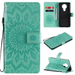 Embossing Sunflower Leather Wallet Case for Nokia 3.4 - Green
