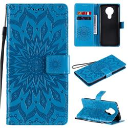 Embossing Sunflower Leather Wallet Case for Nokia 3.4 - Blue