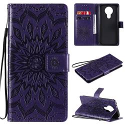 Embossing Sunflower Leather Wallet Case for Nokia 3.4 - Purple