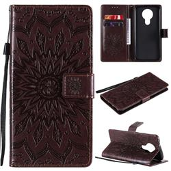 Embossing Sunflower Leather Wallet Case for Nokia 3.4 - Brown