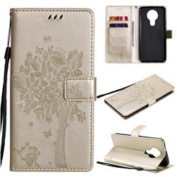 Embossing Butterfly Tree Leather Wallet Case for Nokia 3.4 - Champagne