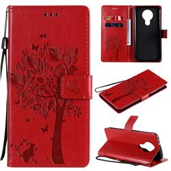 Embossing Butterfly Tree Leather Wallet Case for Nokia 3.4 - Red