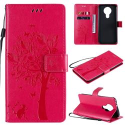 Embossing Butterfly Tree Leather Wallet Case for Nokia 3.4 - Rose