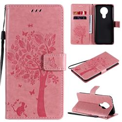 Embossing Butterfly Tree Leather Wallet Case for Nokia 3.4 - Pink