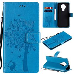 Embossing Butterfly Tree Leather Wallet Case for Nokia 3.4 - Blue
