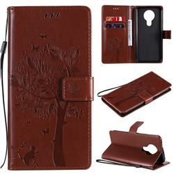 Embossing Butterfly Tree Leather Wallet Case for Nokia 3.4 - Coffee