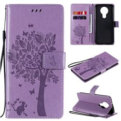 Embossing Butterfly Tree Leather Wallet Case for Nokia 3.4 - Violet