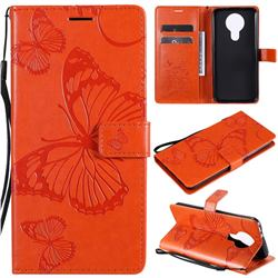 Embossing 3D Butterfly Leather Wallet Case for Nokia 3.4 - Orange