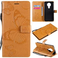 Embossing 3D Butterfly Leather Wallet Case for Nokia 3.4 - Yellow