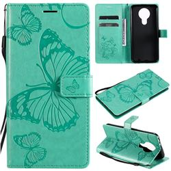 Embossing 3D Butterfly Leather Wallet Case for Nokia 3.4 - Green