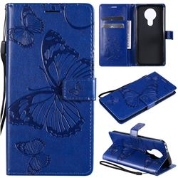 Embossing 3D Butterfly Leather Wallet Case for Nokia 3.4 - Blue