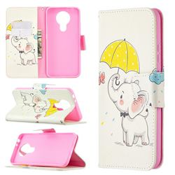 Umbrella Elephant Leather Wallet Case for Nokia 3.4