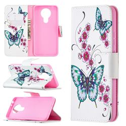 Peach Butterflies Leather Wallet Case for Nokia 3.4