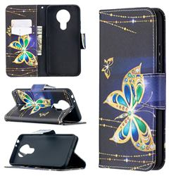 Golden Shining Butterfly Leather Wallet Case for Nokia 3.4