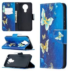 Golden Butterflies Leather Wallet Case for Nokia 3.4