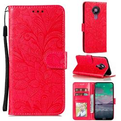 Intricate Embossing Lace Jasmine Flower Leather Wallet Case for Nokia 3.4 - Red