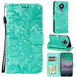 Intricate Embossing Lace Jasmine Flower Leather Wallet Case for Nokia 3.4 - Green