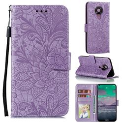 Intricate Embossing Lace Jasmine Flower Leather Wallet Case for Nokia 3.4 - Purple