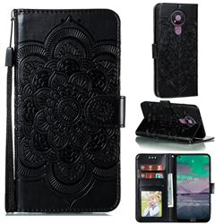 Intricate Embossing Datura Solar Leather Wallet Case for Nokia 3.4 - Black