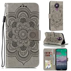 Intricate Embossing Datura Solar Leather Wallet Case for Nokia 3.4 - Gray