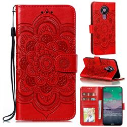 Intricate Embossing Datura Solar Leather Wallet Case for Nokia 3.4 - Red