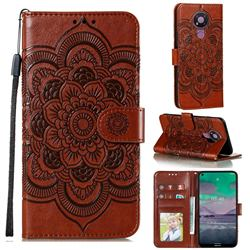 Intricate Embossing Datura Solar Leather Wallet Case for Nokia 3.4 - Brown