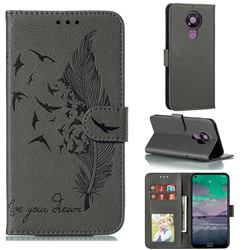 Intricate Embossing Lychee Feather Bird Leather Wallet Case for Nokia 3.4 - Gray