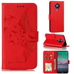 Intricate Embossing Lychee Feather Bird Leather Wallet Case for Nokia 3.4 - Red