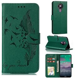 Intricate Embossing Lychee Feather Bird Leather Wallet Case for Nokia 3.4 - Green
