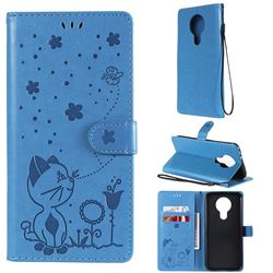 Embossing Bee and Cat Leather Wallet Case for Nokia 3.4 - Blue